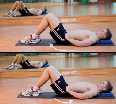 Start Position Lie On Your Back Place A Small Flat Cushion Or Book Under Head Bend Knees And Keep Feet Straight Hip Width Apart