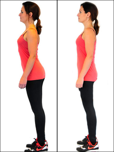 sticking out bottom (left) and correct standing posture