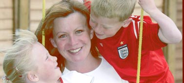 Sue Morgan-Elphick with her children