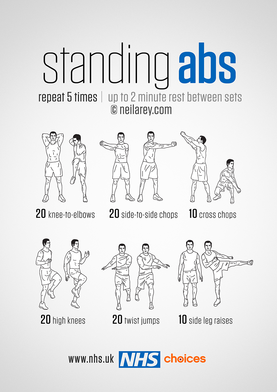 Standing Abs Workout on Dance Steps Diagram Sheet