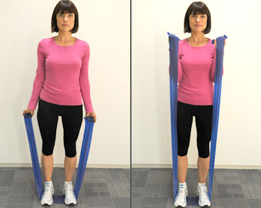 Standing Tall With Feet Hip Width Apart Place The Resistance Band Under One Foot Or Two For More Of A Challenge Keep Your Stomach Flat And Squeeze