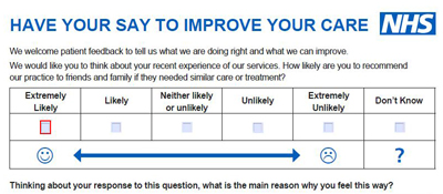 NHS Friends and Family Test Patient feedback NHS Choices – Patient Feedback Form