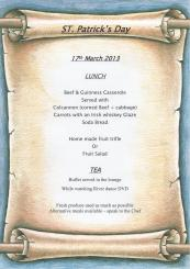 Our recent St Patrick's Day Menu