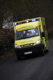 SCAS ambulance responding to a 999 call