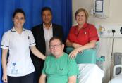 Patient Roy Miller with physio Katie Spiller consultant Krishnamoorthy & sister Clare McQuaker