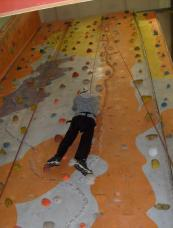 Michael using the indoor climbing wall