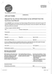 SCR opt out form